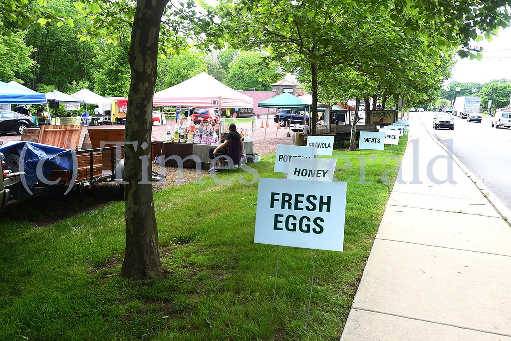Description of . Skippack Farmers Market gets started on Friday evening with Food Trucks, Vegetable Stands, and Artisan Booths.  Friday, May 30, 2014.  Photo by Adrianna Hoff/Times Herald Staff.
