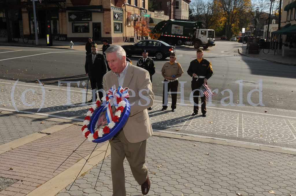 Description of . VFW Post 1074 observes Veterans Day with program in Conshohocken November 11, 2013. Photo by Gene Walsh / Times Herald Staff