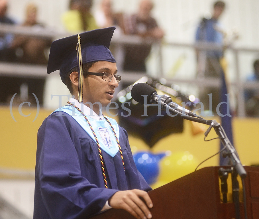 Description of . Valedictorian Nikhil Kandpal addresses his fellow graduates.  Thursday, June 12, 2014.  Photo by Adrianna Hoff/Times Herald Staff.