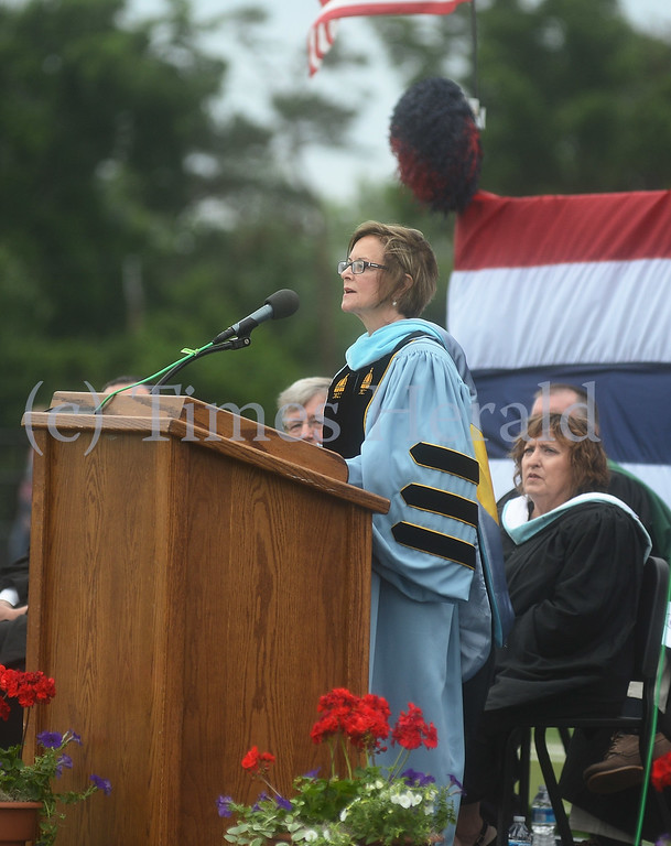 Description of . Plymouth Whitemarsh's Superintendent of Schools, Dr. MaryEllen Gorodetzer speaks to the graduates about facing their future challenges.  Wednesday, June 11, 2014.  Photo by Adrianna Hoff/Times Herald Staff.