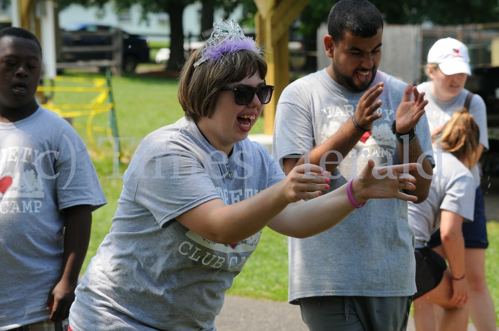 Description of . Campers enjoys the games of the 15th annual Sunshine Games at the Variety Club in Worcester August 8, 2014. Photo by Gene Walsh / Times Herald Staff