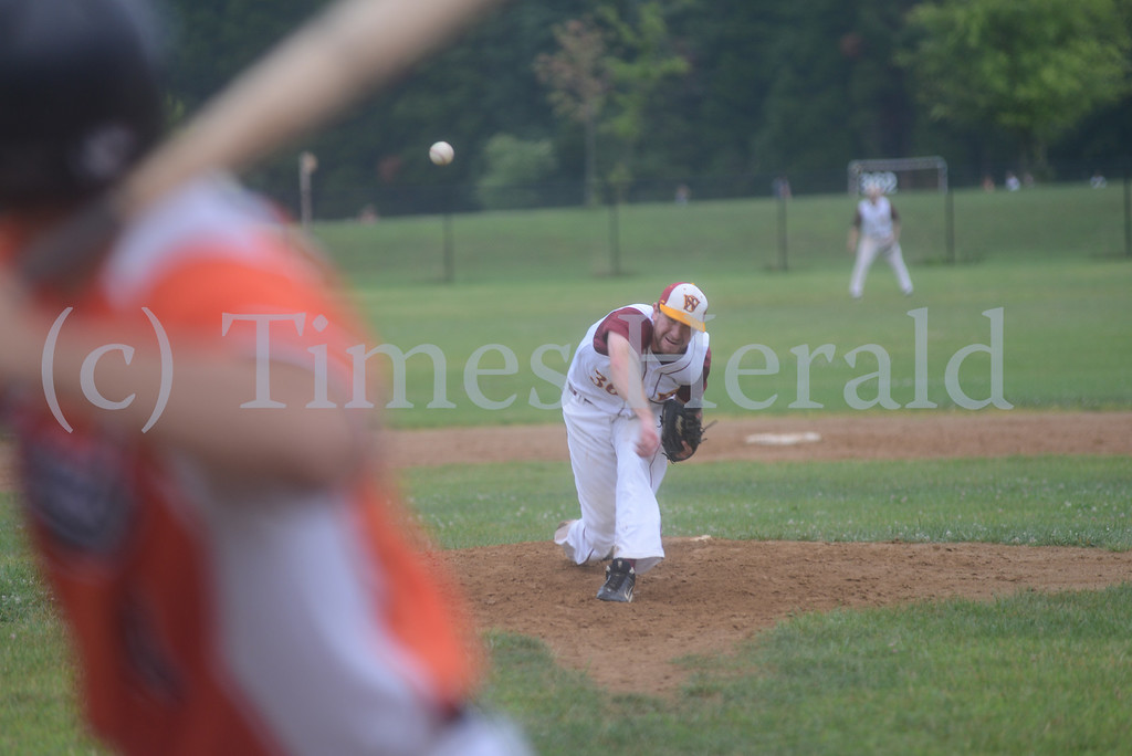Description of . Skippack Wrangers beat the Norristown Diamonds 2-1 during the Friday night Perkioman Valley Twilight League Playoff.  Friday, August 1, 2014.  Photo by Adrianna Hoff/Times Herald Staff.