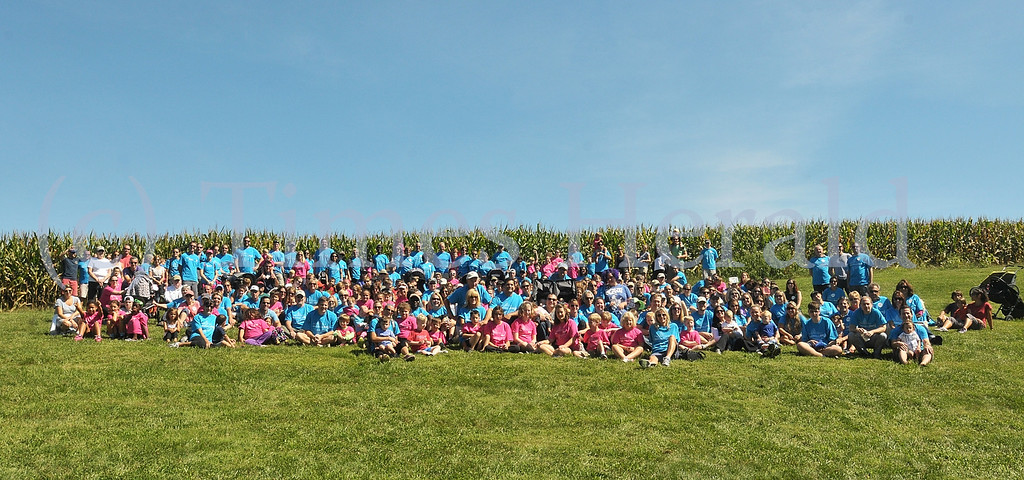 . Everyone gathered for a group shot at the 3rd annual Philadelphia One SMALL Step for Prader-Willi Syndrome Walk.  Saturday, September 7, 2013.  Photo by Adrianna Hoff/Times Herald Staff.