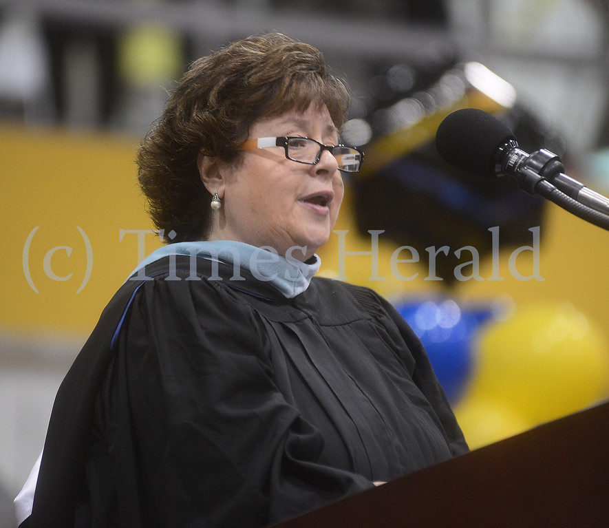 . Superintendent Judith M. Clark talks with Wissahickon High School\'s Graduating class of 2014.  Thursday, June 12, 2014.  Photo by Adrianna Hoff/Times Herald Staff.