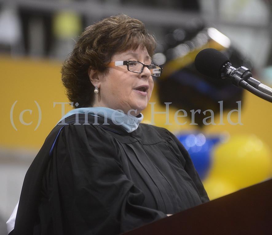 . Superintendent Judith M. Clark talks with Wissahickon High School\'s Graduating class of 2014.  Thursday, June 12, 2014.  Photo by Adrianna Hoff/Times Herald Staff.
