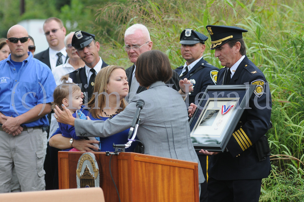 . Fallen Hero Plaque dedication ceremony held to honor Plymouth police officer Brad Fox allong the Schuylkill river Trail in plymouth Friday Sept. 13, 2013. Photos by Gene Walsh / Times Herald Staff