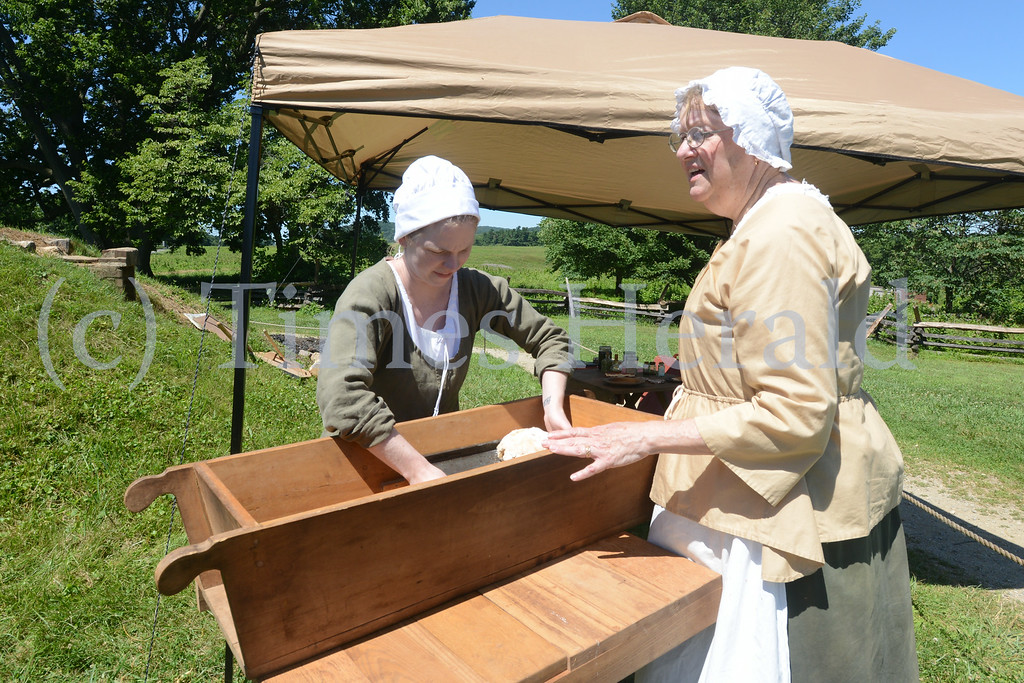 . Valley Forge Park hosted visitors at the Muhlenberg Huts during one of their Living History Programs.  Saturday, July 5, 2014.  Photo by Adrianna Hoff/Times Herald Staff.