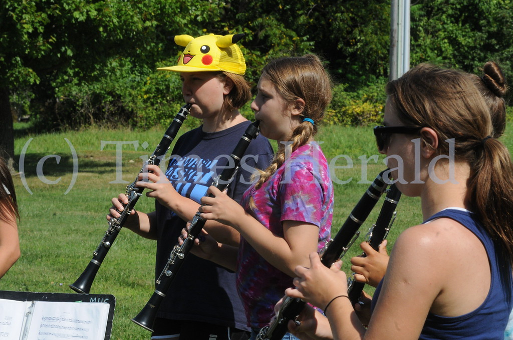 . Methacton High School\'s Marching Band  members practice for the up coming season in Worcester August 18, 2014. Photo by Gene Walsh / Times Herald Staff