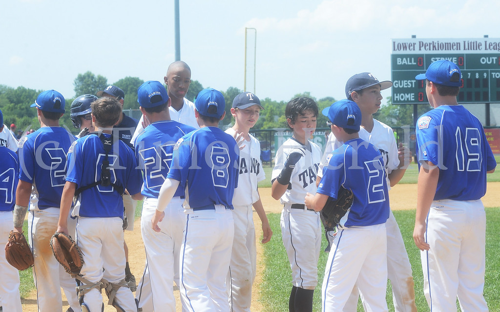 . Taney and Collier players high five each other at the end of the game, Collier 7-2.  Saturday, July 26, 2014.  Photo by Adrianna Hoff/Times Herald Staff.