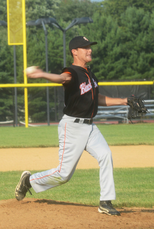 . Collegeville\'s Paul Spiewak pitches against the Ambler Brewers.  Thursday, July 31, 2014.  Photo by Adrianna Hoff/Times Herald Staff.